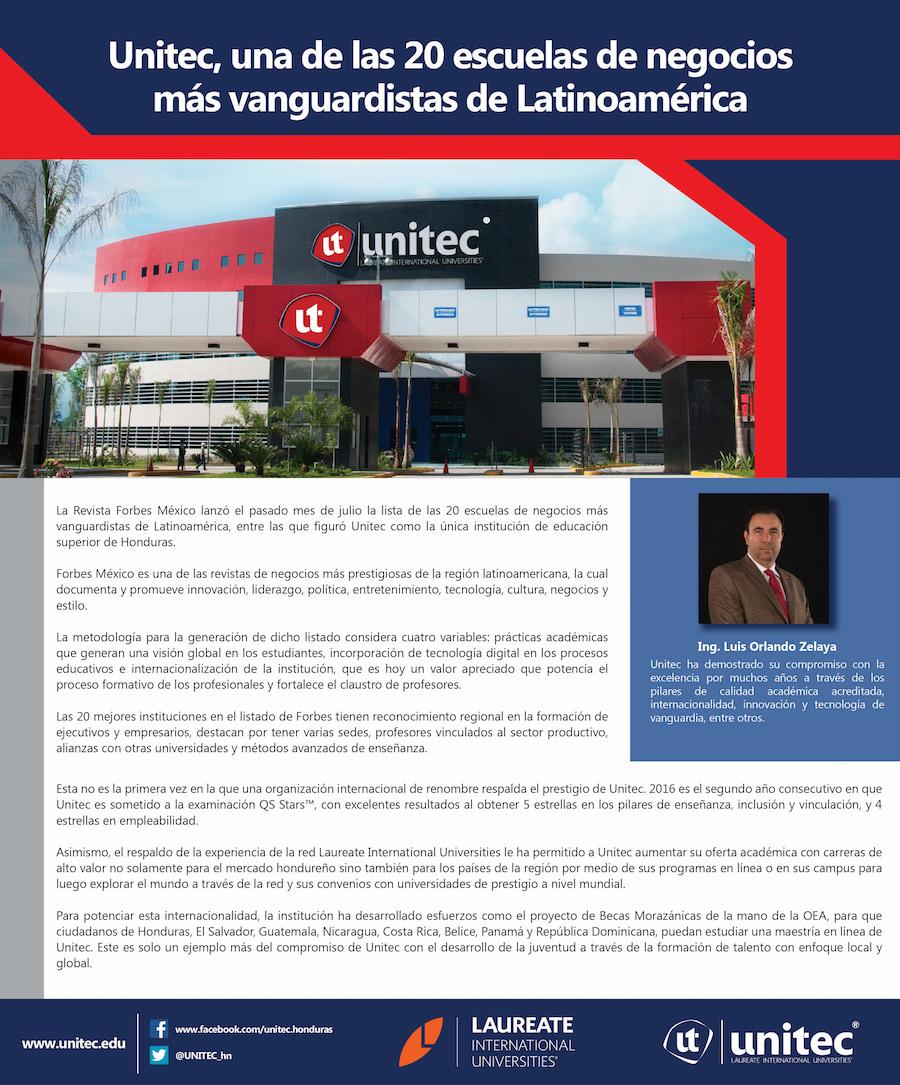 Unitec entre las 20 escuelas de negocios más vanguarditas de latinomérica